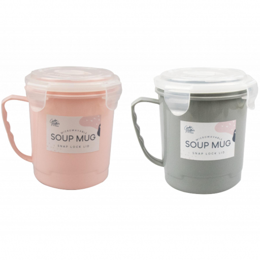 Cooke & Miller Microwavable Soup Mug - Assorted Colours