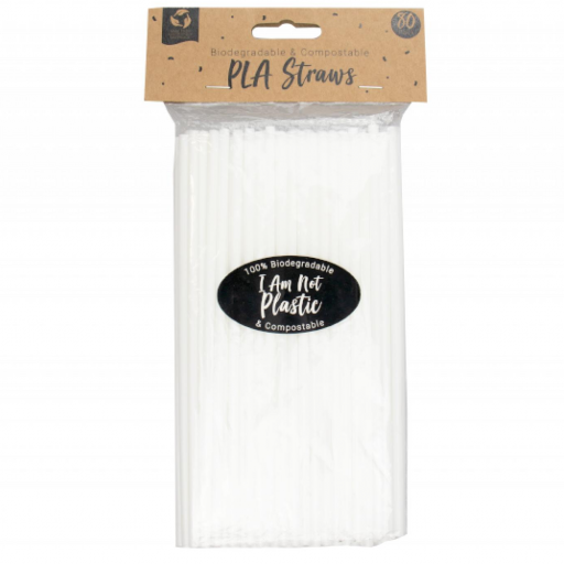 Pop Party - PLA Biodegradable & Compostable Straws - Pack of 80