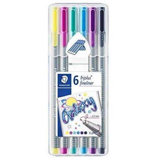 Staedtler Triplus Fineliner 0.3mm Pens - Galaxy, Pack of 6