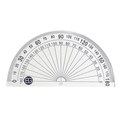 BG Clear 10cm 180 Degree Protractor - Pack of 20