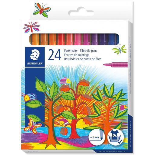 Staedtler Noris Club Fibre Tip Pens Asst Colours - Pack of 24