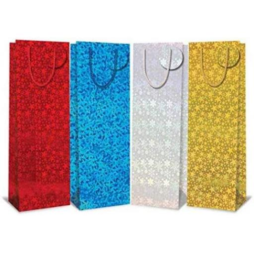 Tallon Holographic Christmas Bottle Bags - Pack of 12
