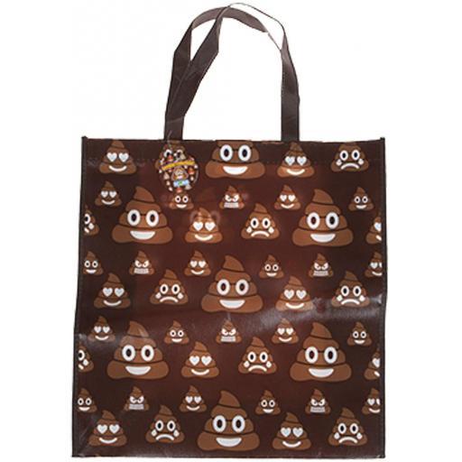 PMS Emoji Icons Laminated Shopping Bag - Poop Design