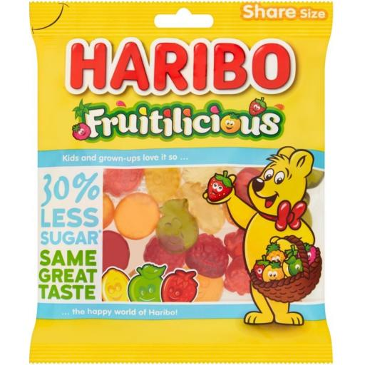 Haribo Fruitilicious Reduced Sugar 155g BBE 07/21