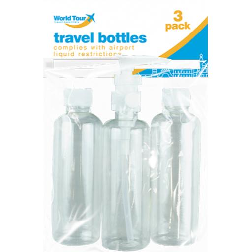 World Tour Clear Travel Size Bottles 100ml - Pack of 3