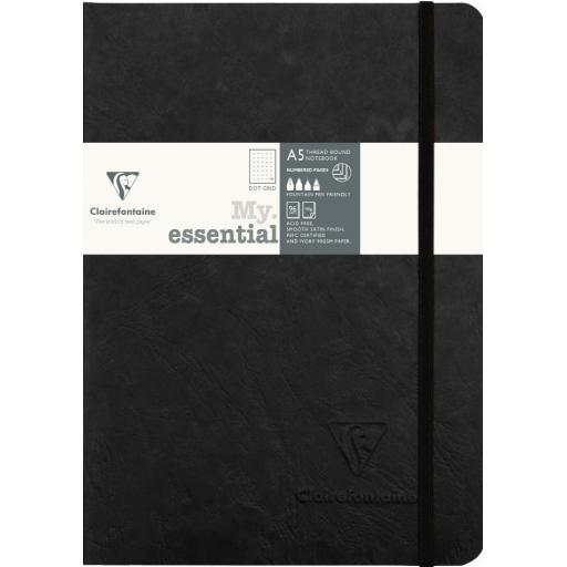Clairefontaine My Essential A5 Dot Grid Notebook - Black