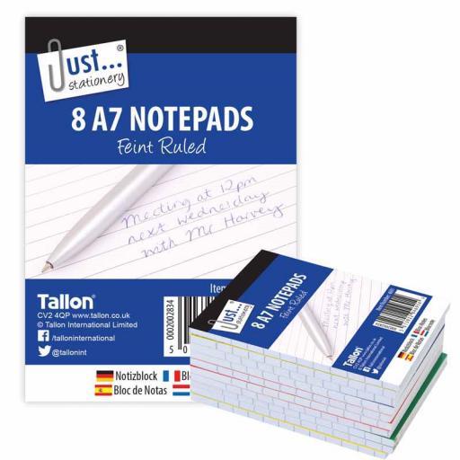 JS A7 Mini Feint Ruled Notepads - Pack of 8