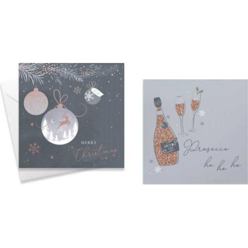 Tallon Christmas Cards, Assorted Designs Prosecco Ho Ho Ho - Box of 10