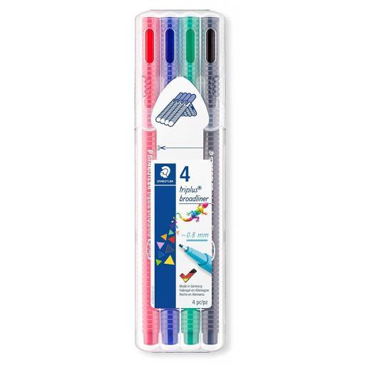 Staedtler Triplus Broadliner Pens 0.8mm Assorted - Pack of 4