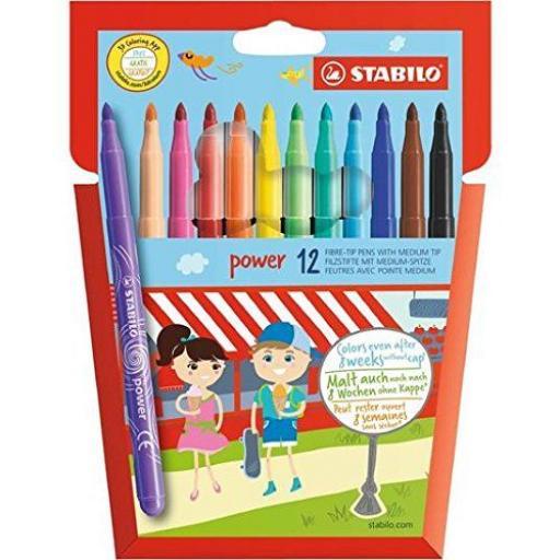 Stabilo Power Fibre Tip Pens, Medium Tip - Pack of 12