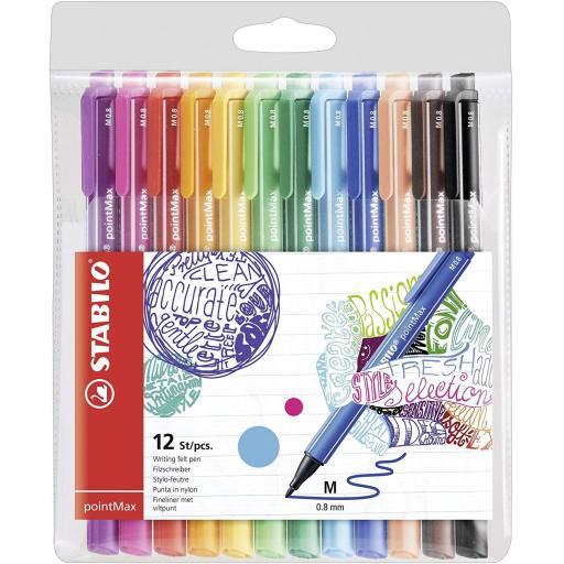 Stabilo PointMax Nylon Tip Felt Pens - Pack of 12