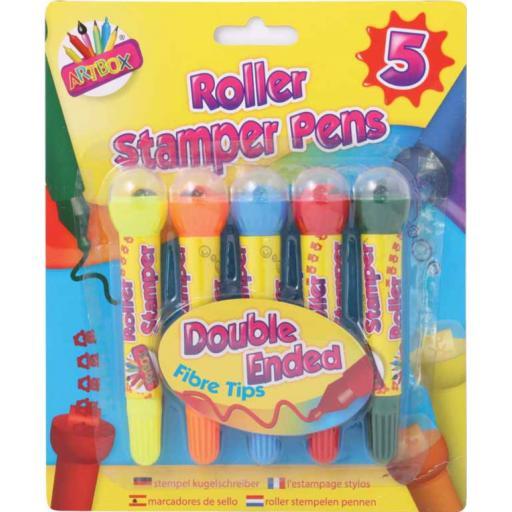 Artbox Roller Stamper Fibre Tip Pens - Pack of 5