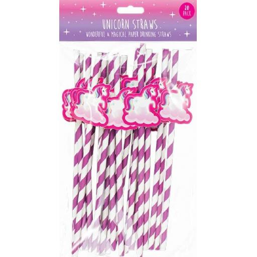 Pop Party Unicorn Paper Straws - Pack of 20