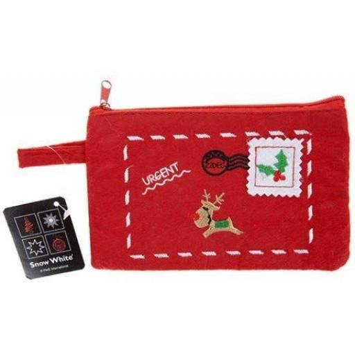 PMS Snow White Embroidered Christmas Zip Purse
