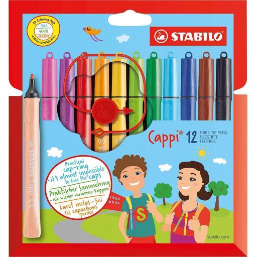 Stabilo Cappi Fibre Tip Pens + Cap Ring - Box of 12