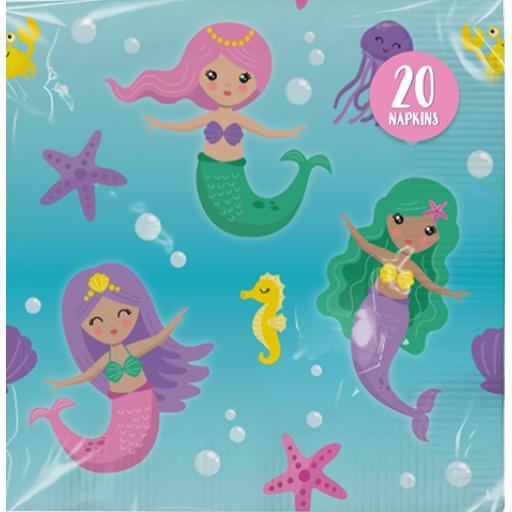 Paper Napkins 3ply Mermaid Design, Pack of 20