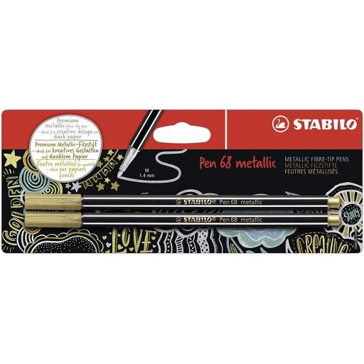 Stabilo Pen 68 Metallic, Gold - Pack of 2