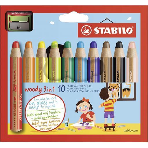 Stabilo Multi-Talented Woody 3 in 1 Pencils - Pack of 10