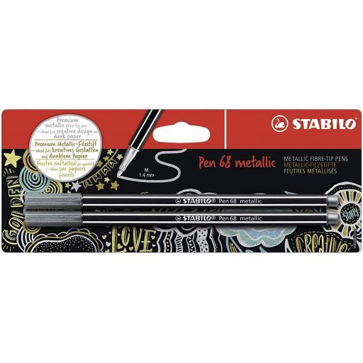 Stabilo Pen 68 Metallic, Silver - Pack of 2