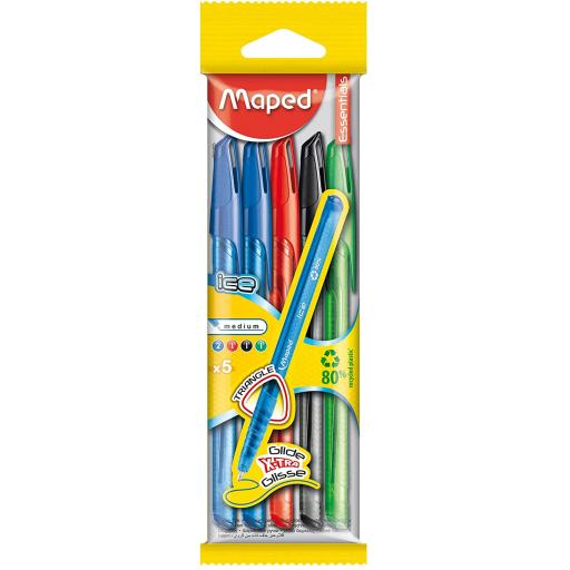 Maped Ice Ballpoint Pens, Assorted Colours - Pack of 5