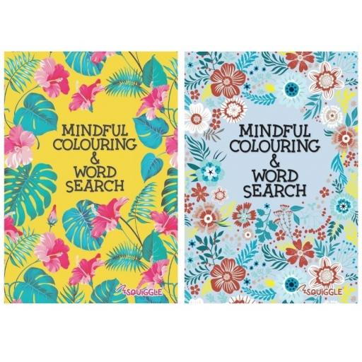 Squiggle A5 Mindful Colouring & Wordsearch Books - Set of 2