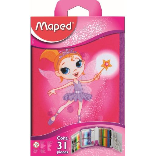 Maped Fairy Filled Pencil Case with Complete Set of Accessories