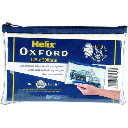 Helix Oxford PVC Clear Pencil Case - 125x200mm