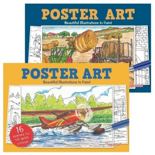 Squiggle Poster Art Painting Books - Set of 2