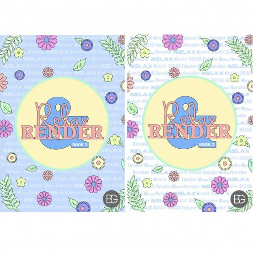 BG Relax & Render A4 Adult Colouring Books - Set of 2