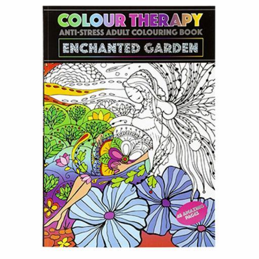 PMS Colour Therapy A4 Adult Colouring Book - Enchanted Garden