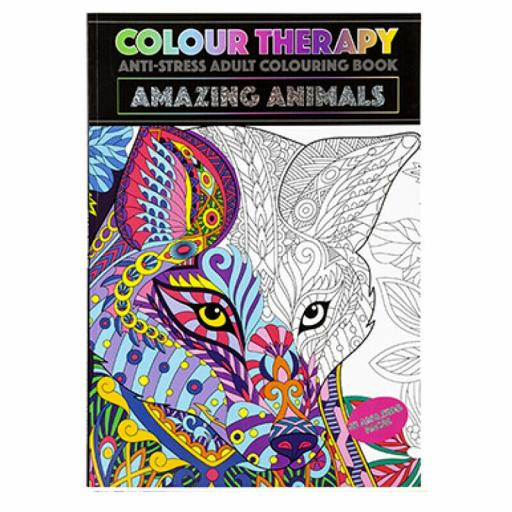 PMS Colour Therapy A4 Adult Colouring Book - Amazing Animals