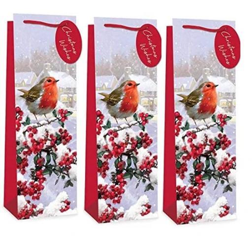Tallon Christmas Bottle Bag Traditional Robin, Snowy Scene - Single
