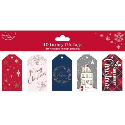 North Pole Die Cut Luxury Gift Tags Premium - Pack of 40