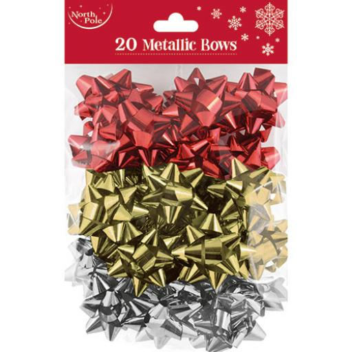 North Pole Metallic Christmas Bows, Red, Silver & Gold - Pack of 20