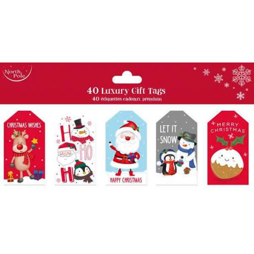 North Pole Cute Christmas Gift Tags Pack of 40