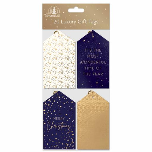 Tallon Luxury Christmas Gift Tags, Navy & Gold - Pack of 20