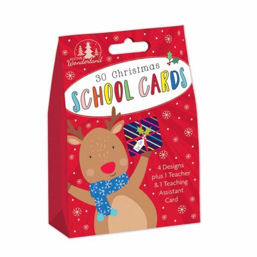 Tallon Cute School Christmas Cards & Teacher Card - Box of 30