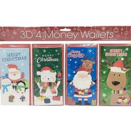 Tulip 3D Christmas Money Wallets, Cartoon Cute - Pack of 4