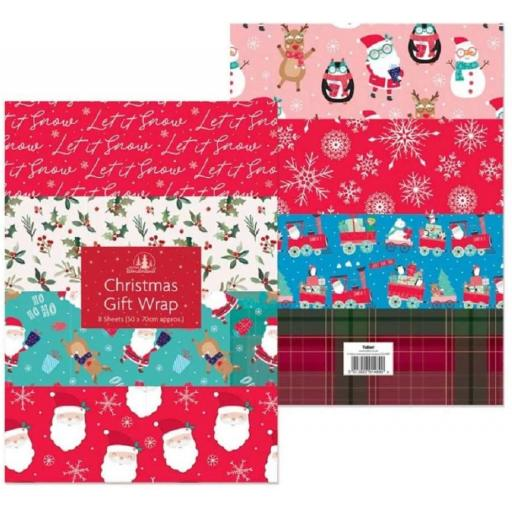 Tallon Christmas Flat Gift Wrap, 50x70cm - 8 Sheets