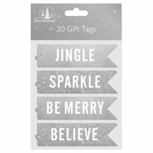 Tallon Flag Shape Gift Tags, Silver Text - Pack of 20