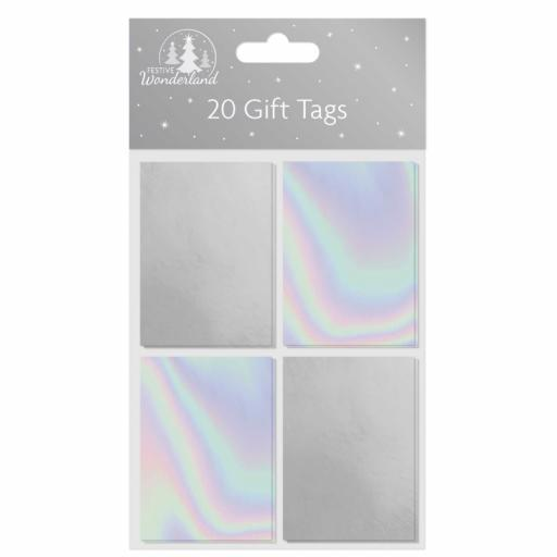 Tallon Folded Foil Gift Tags, Silver - Pack of 20