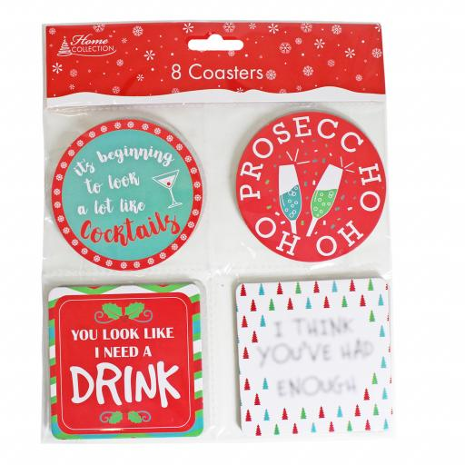 IGD Home Collection Christmas Coasters - Pack of 8