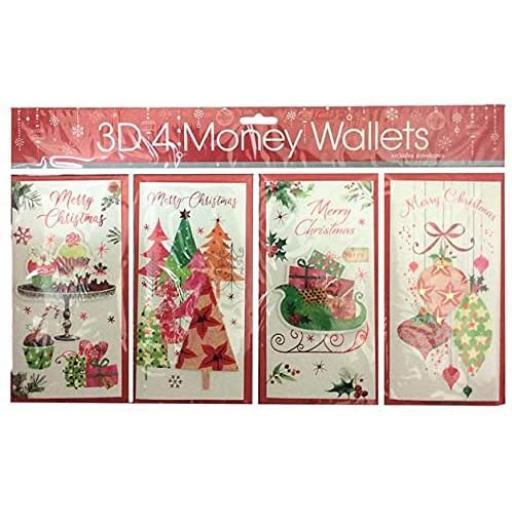 Tulip 3D Christmas Money Wallets, Elegant Stylish - Pack of 4