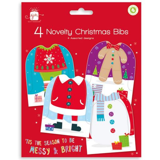 Giftmaker Collection Novelty Christmas Bibs - Pack of 4