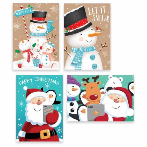Tallon Rectangular Christmas Cards, Santa & Snowman - Box of 10