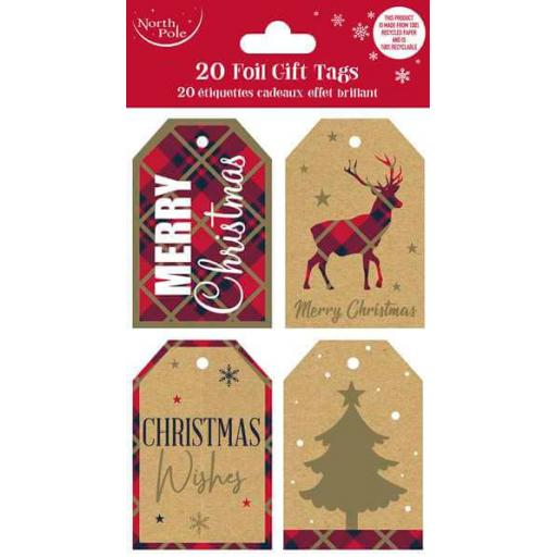 North Pole Kraft Eco 100% Recycled Paper Gift Tags - Pack of 40