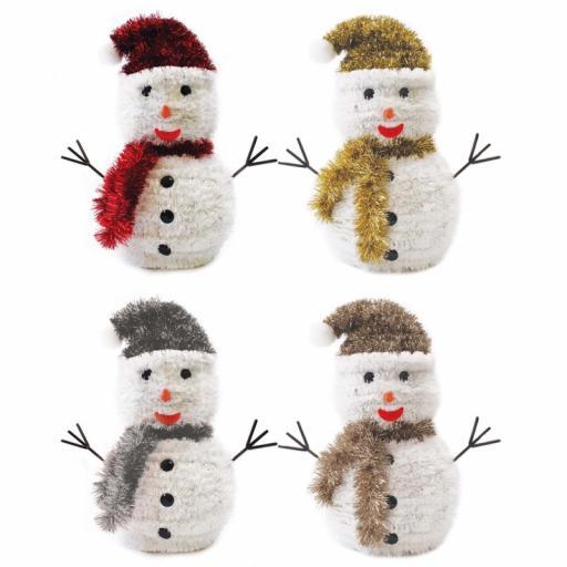 Festive Wonderland Large Tinsel Snowman 28cm - Assorted Colours
