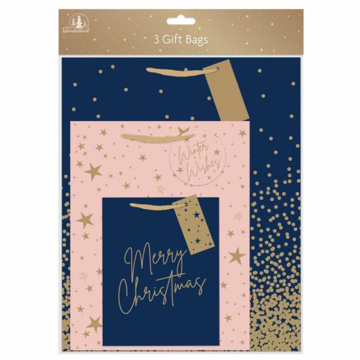 Tallon Navy Blush Gift Bags Small, Medium & Large - Pack of 3