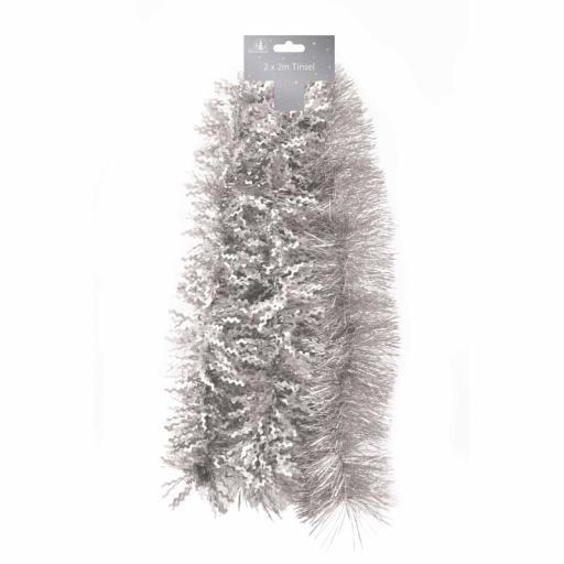 Tallon Luxury Tinsel Shiny Fine Cut & Matt Zig Zag 2M, Pack of 2 - Silver