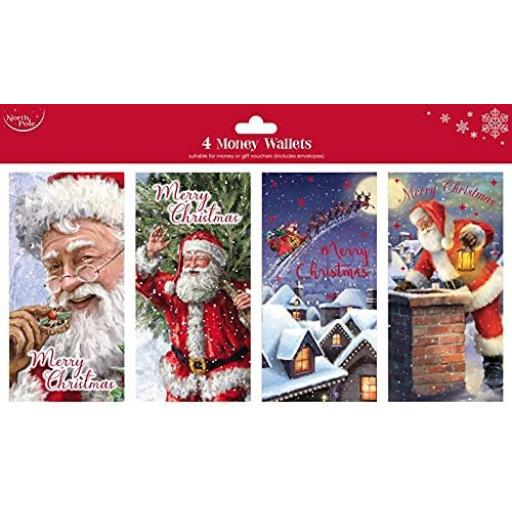 North Pole Traditional Christmas Money Wallets - Pack of 4